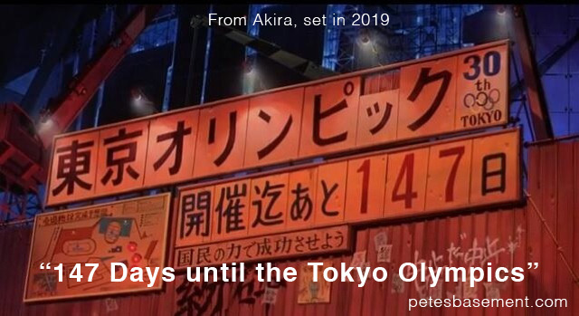 Sign from Akira reads 147 days until the Tokyo Olympics